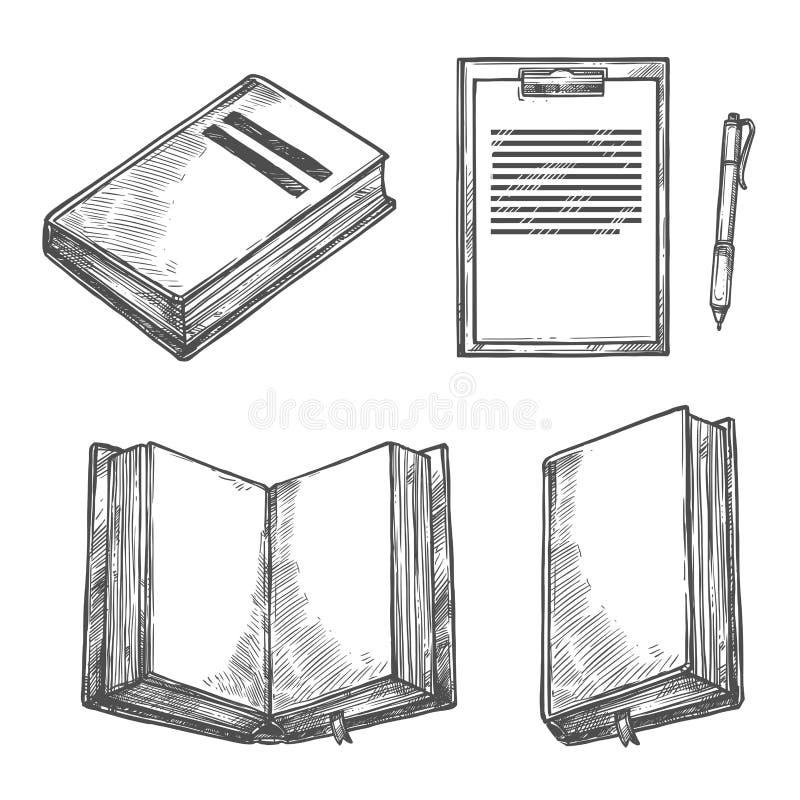 Książki, notatnika, pióra i schowka nakreślenia projekt, royalty ilustracja