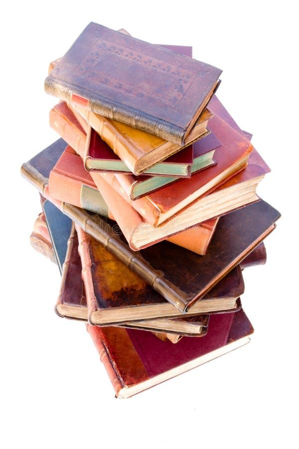 książki oprawiający rzemienny stary stos zdjęcia stock