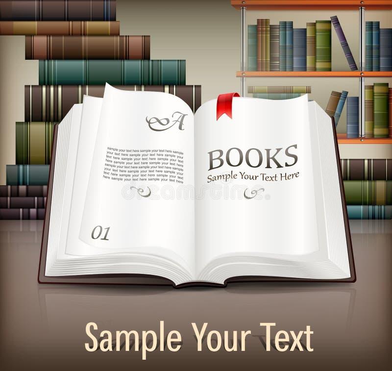 Książki otwierają z tekstem na biurku ilustracja wektor