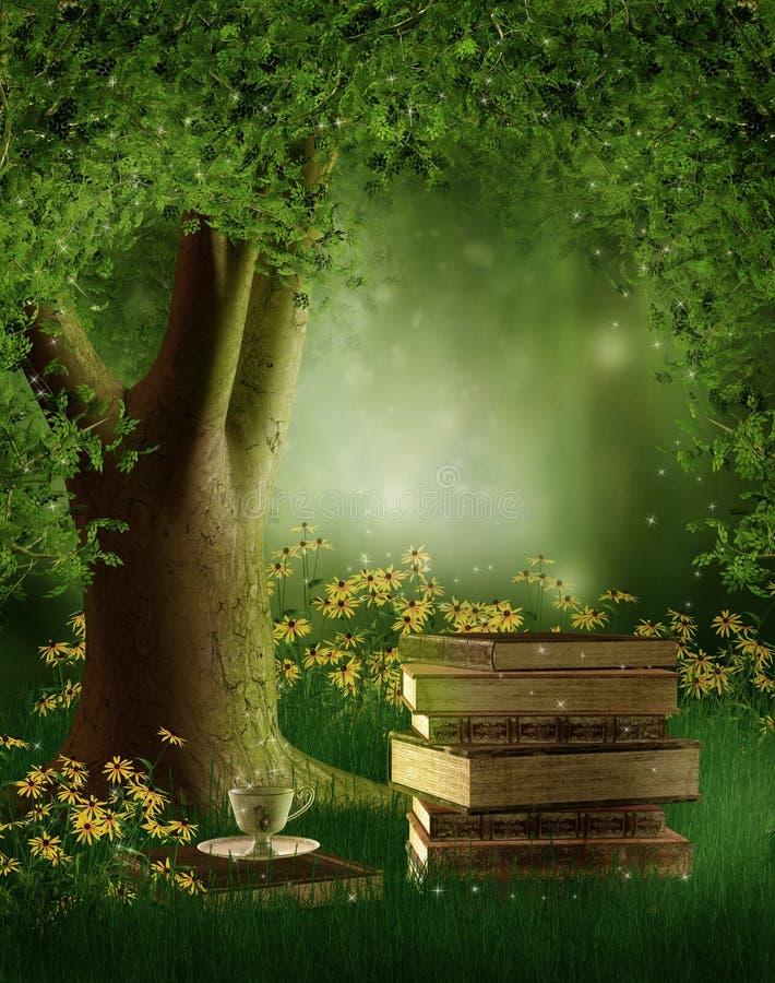 Książki pod drzewem ilustracja wektor