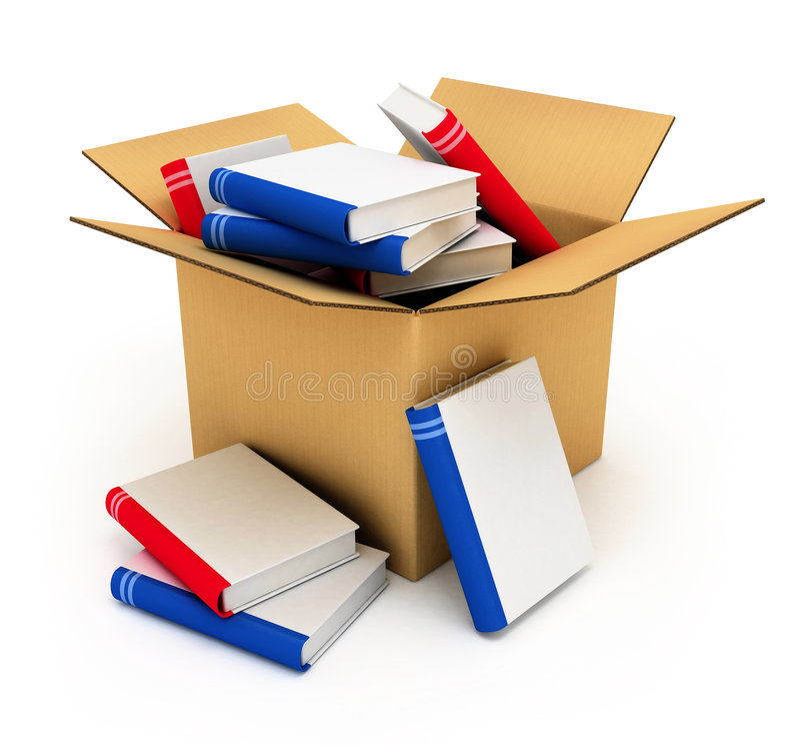 książki pudełka karton ilustracji