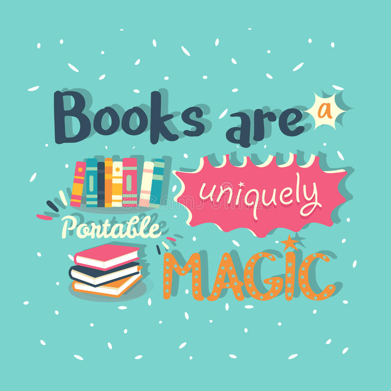 Książki są wyjątkowo przenośnym magicznym wycena motywaci plakatem zdjęcia stock
