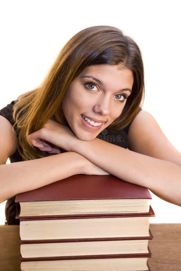 książki sterty kobieta zdjęcie royalty free
