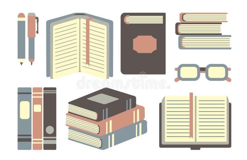 Książki ustawiać ilustracja wektor