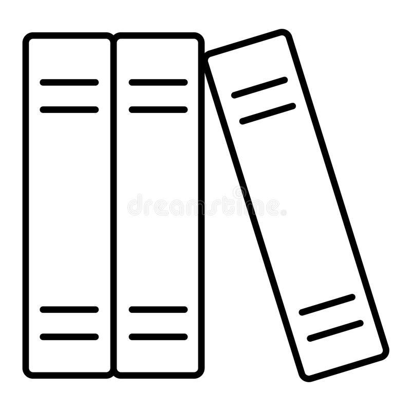Książki wykładają ikonę, konturu wektoru znak, liniowy stylowy piktogram odizolowywający na bielu Nauka symbol, logo ilustracja 1 ilustracja wektor