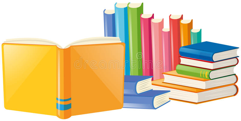 Książki z wiele kolorów pokrywą ilustracja wektor
