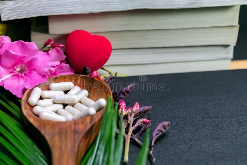 Książki za ziołową medycyną w drewnianej łyżce z czerwonym sercem, dzikie menchie kwitną liść na ciemnym tle i zielenieją zio?owy zdjęcia royalty free