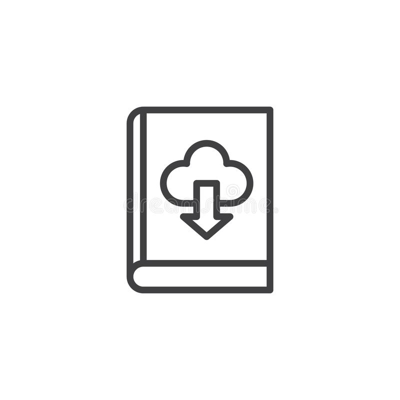 Książkowa ściąganie chmury konturu ikona ilustracja wektor
