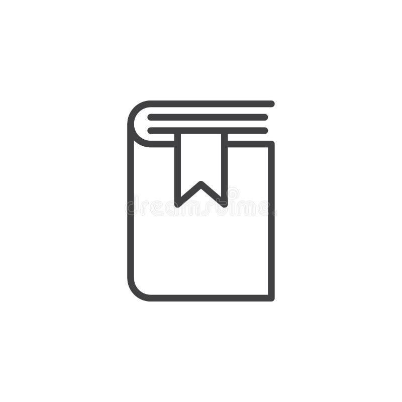 Książkowa bookmark linii ikona, konturu wektoru znak, liniowy stylowy piktogram odizolowywający na bielu ilustracja wektor