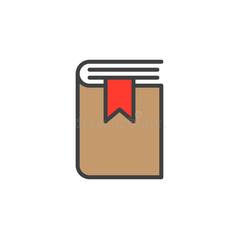 Książkowa bookmark linii ikona, wypełniający konturu wektoru znak, liniowy kolorowy piktogram odizolowywający na bielu royalty ilustracja