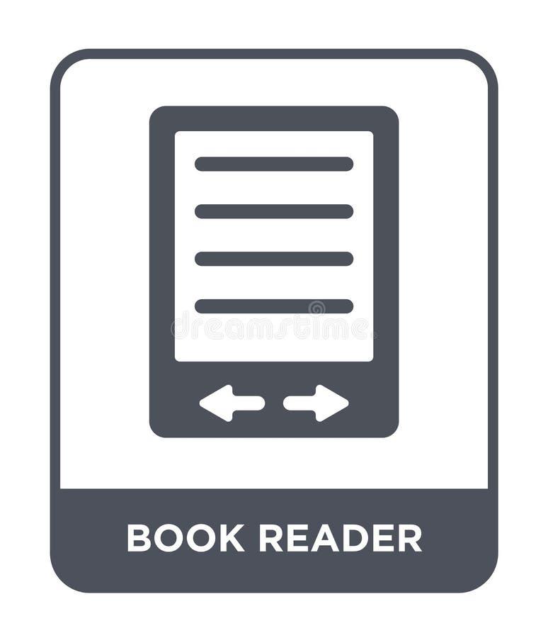 książkowa czytelnik ikona w modnym projekta stylu książkowa czytelnik ikona odizolowywająca na białym tle książkowego czytelnika  ilustracja wektor