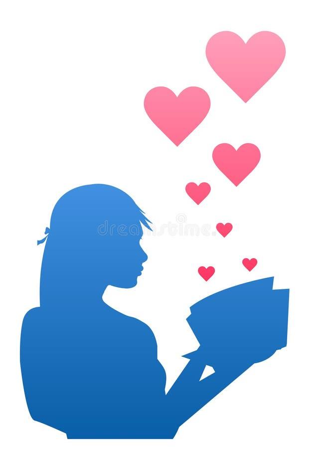 książkowa dziewczyna czytająca jej miłość ilustracja wektor