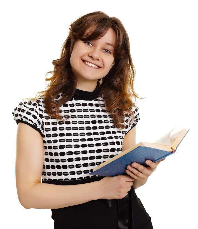 książkowa dziewczyna odizolowywający ja target206_0_ biel zdjęcia stock