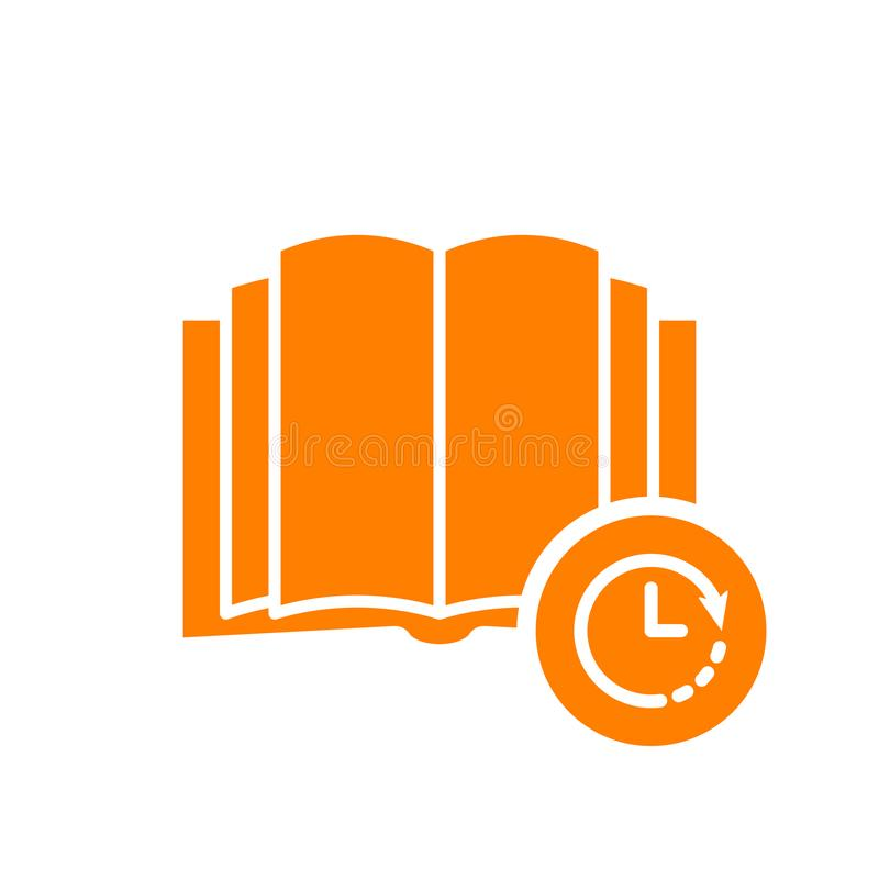 Książkowa ikona, edukaci ikona z zegaru znakiem Książkowa ikona i odliczanie, ostateczny termin, rozkład, planistyczny symbol royalty ilustracja