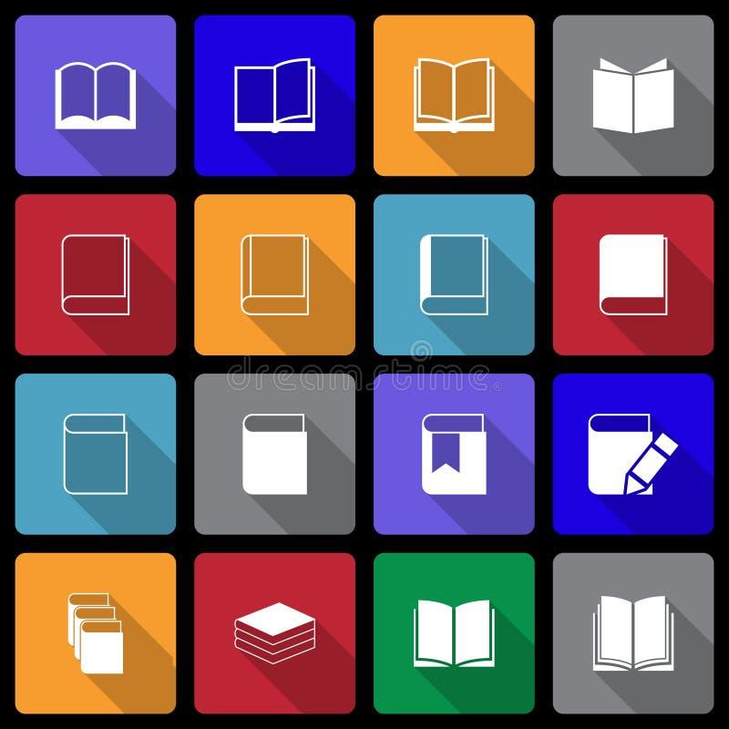 Książkowa ikona ustawiająca z Długim cieniem royalty ilustracja