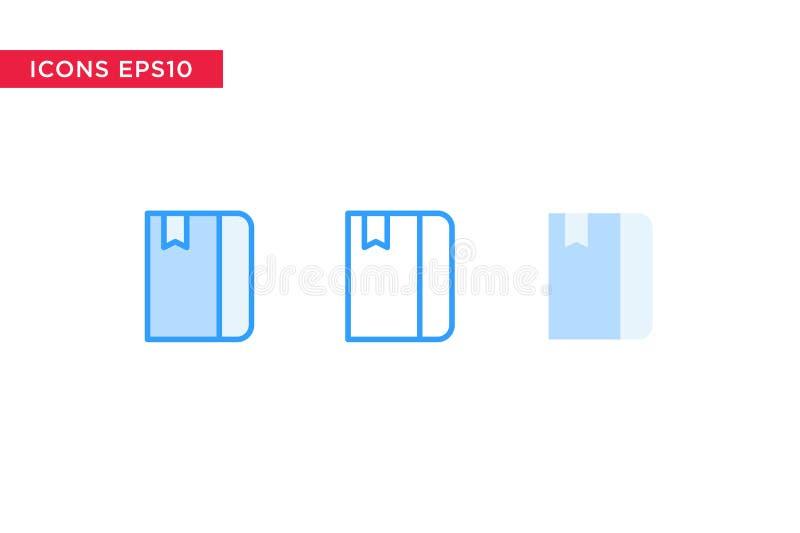 Książkowa ikona w linii, konturze, wypełniającym konturze i płaskim projekta stylu odizolowywających na białym tle, eps10 kwiatów ilustracji