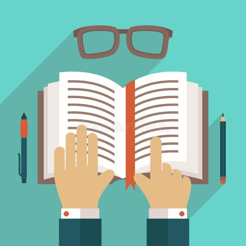 Książkowa ikona z ręką ilustracja wektor