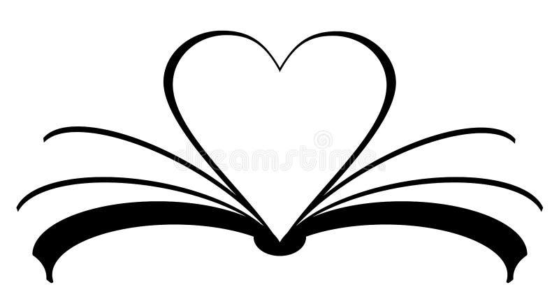 książkowa ikona z sercem robić strony Miłości czytelniczy pojęcie royalty ilustracja