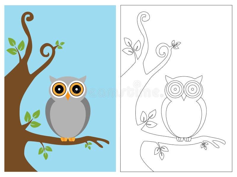książkowa kolorystyki sowy strona royalty ilustracja