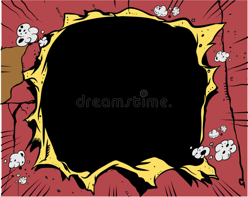 książkowa komiczna dziura ilustracji