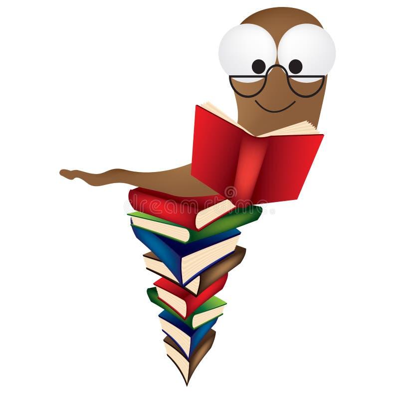 książkowa książek stosu dżdżownica royalty ilustracja