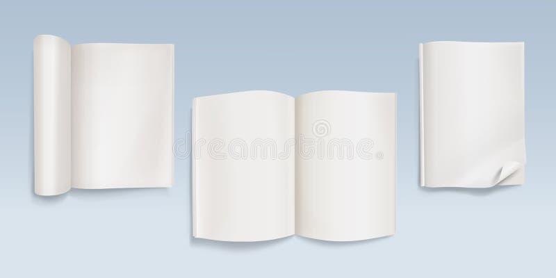 Książkowa lub otwarta pusta notatnika wektoru ilustracja ilustracji