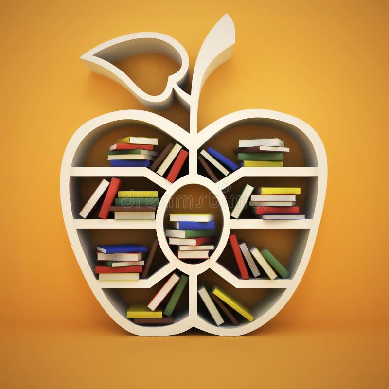Książkowa półka w formie jabłko ilustracji