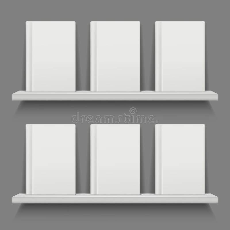 Książkowa pokrywa na półkach Mobilny app sieci układ z frontową pozycją rezerwuje wektorowego półki na książki mockup royalty ilustracja