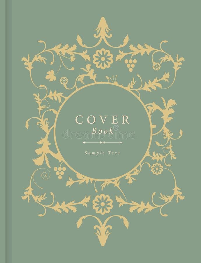 Książkowa pokrywa z dekoracyjnym tłem w rocznika stylu wektorze z ornamentacyjnymi elementami ilustracji