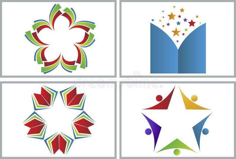 Książkowe gwiazdowe logo kolekcje ilustracji