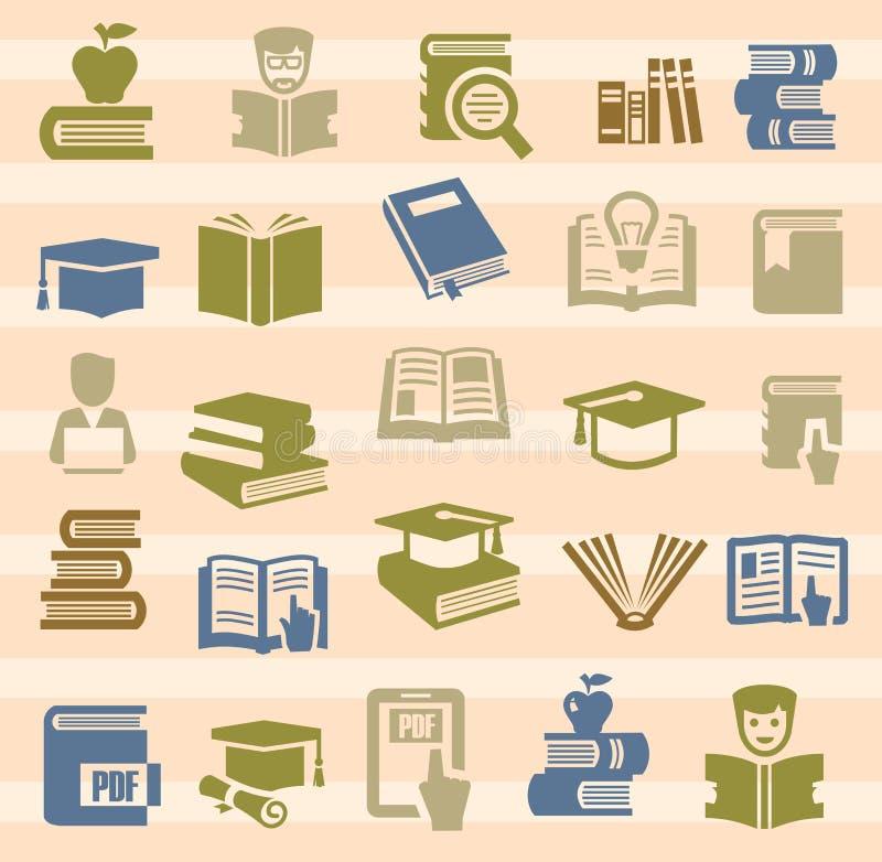Książkowe ikony ustawiać ilustracji
