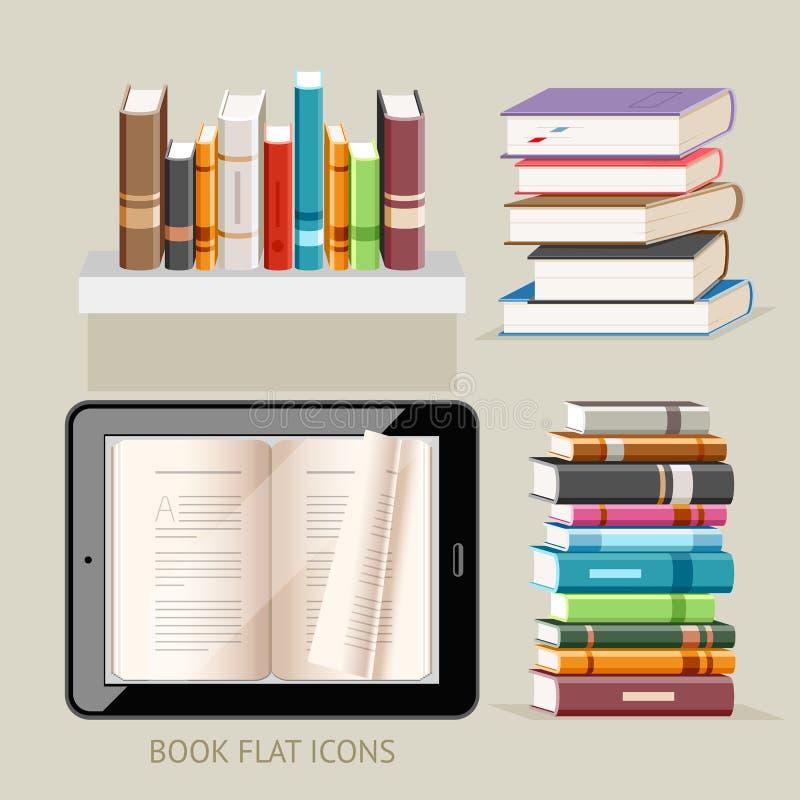 Książkowe płaskie ikony ustawiać ilustracji