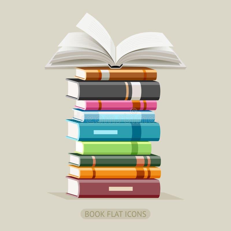Książkowe płaskie ikony ustawiać wektor ilustracja wektor