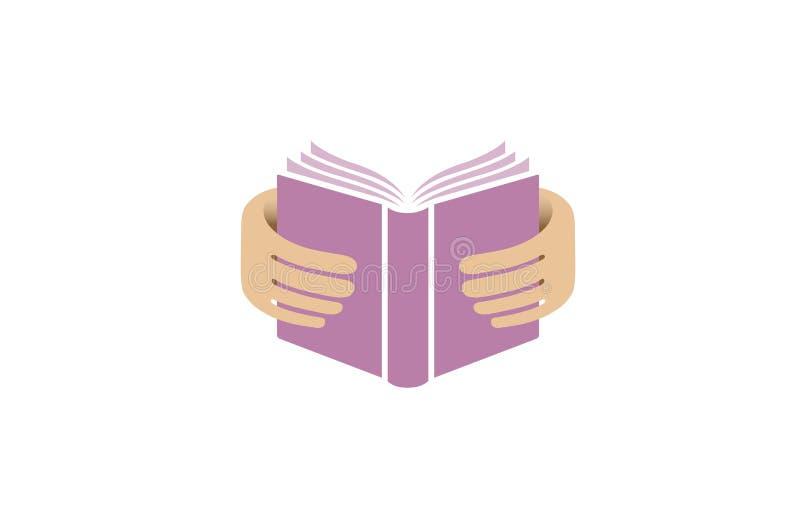 Książkowe ręki Czyta edukacja loga ilustracja wektor