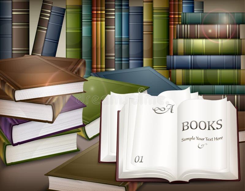 Książkowe sterty na stole royalty ilustracja