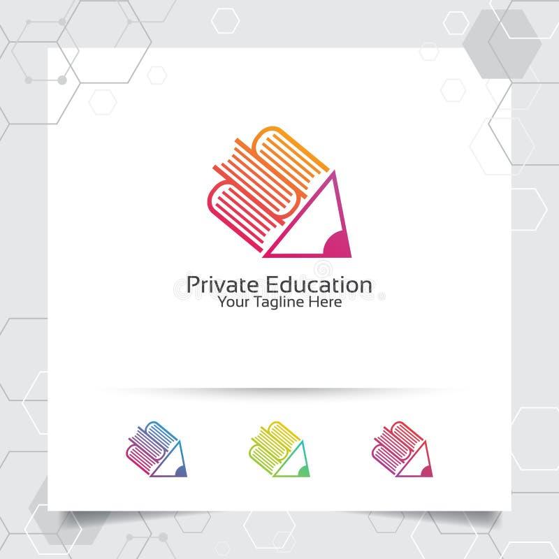 Książkowego logo wektorowy projekt z ołówkowym ikona symbolem dla biblioteki, edukacji, bookstore i uniwersyteta, ilustracji