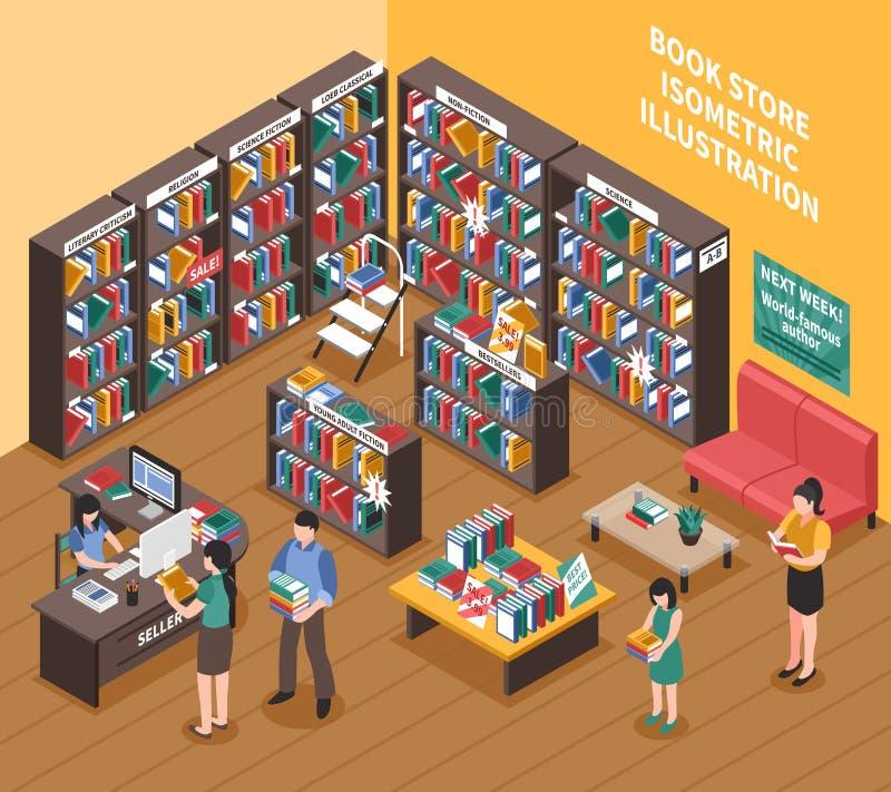 Książkowego sklepu Isometric ilustracja ilustracji