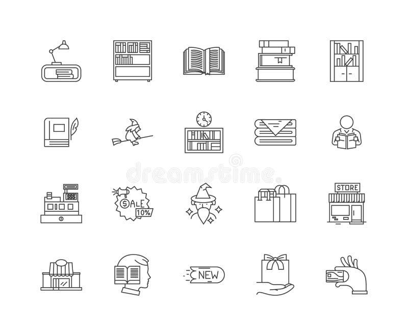 Książkowego sklepu linii ikony, znaki, wektoru set, kontur ilustracji pojęcie royalty ilustracja