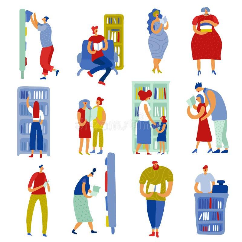 Książkowego sklepu ludzie Ustawiający ilustracji