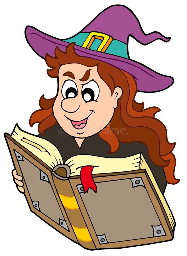 książkowej dziewczyny magiczny czytelniczy czarownik ilustracja wektor