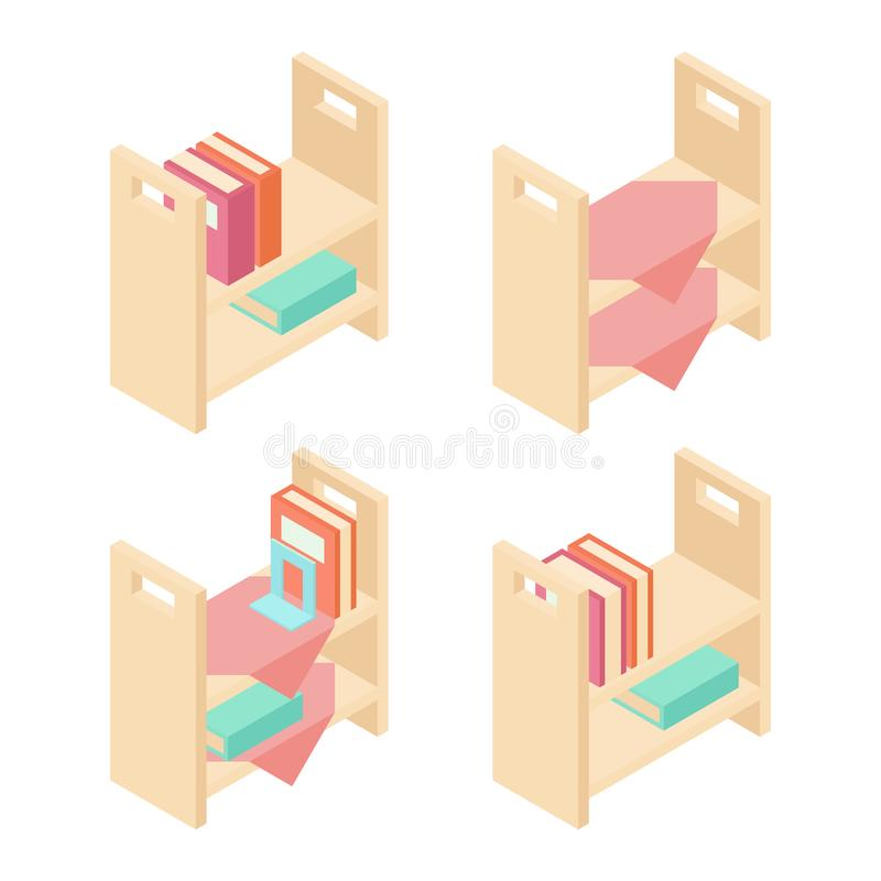 Książkowej półki 3D wektoru isometric ilustracja ilustracji