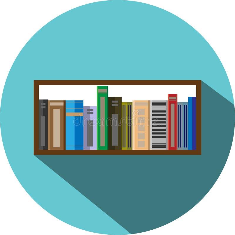 Książkowej półki ikony mieszkania styl ilustracja wektor