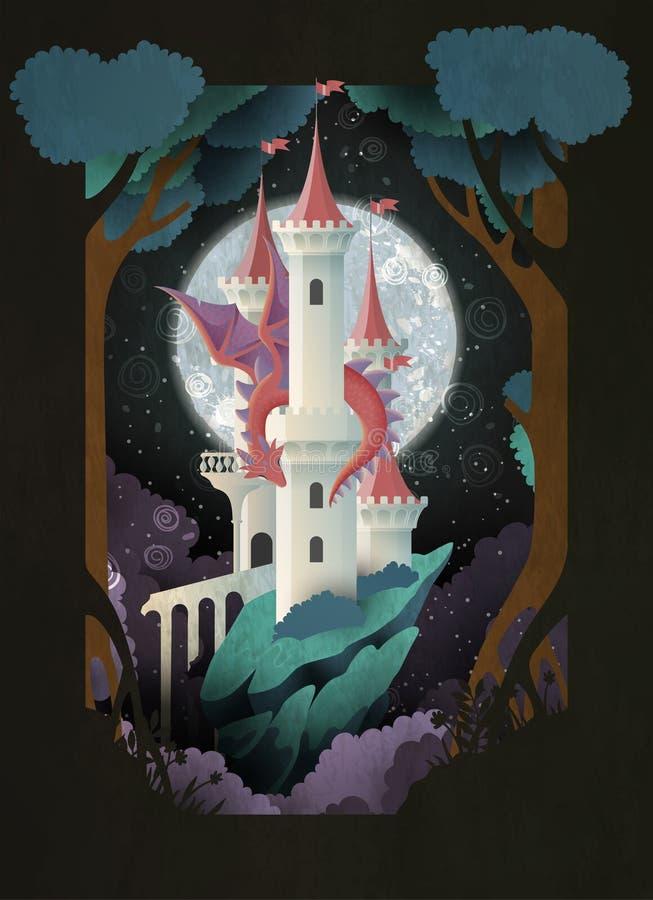 Książkowej pokrywy bajki ilustracji kasztel i smok przed nocnym niebem i księżyc royalty ilustracja