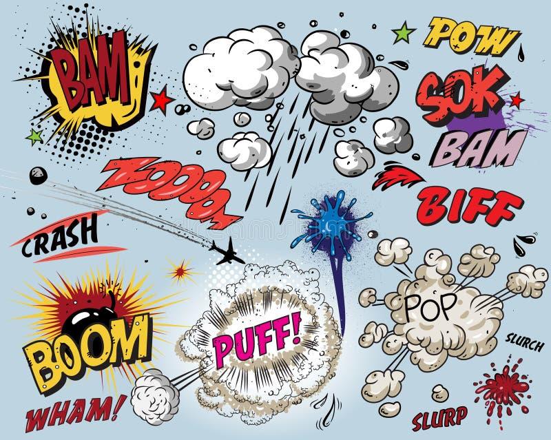 książkowi komiczni elementy ilustracji