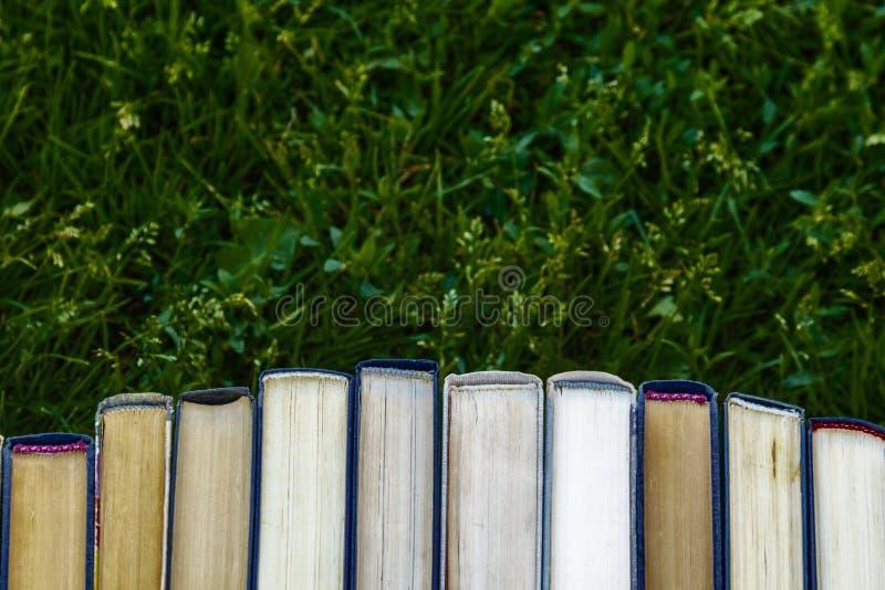 Książkowi tutorials są na zielonej trawie zdjęcia stock