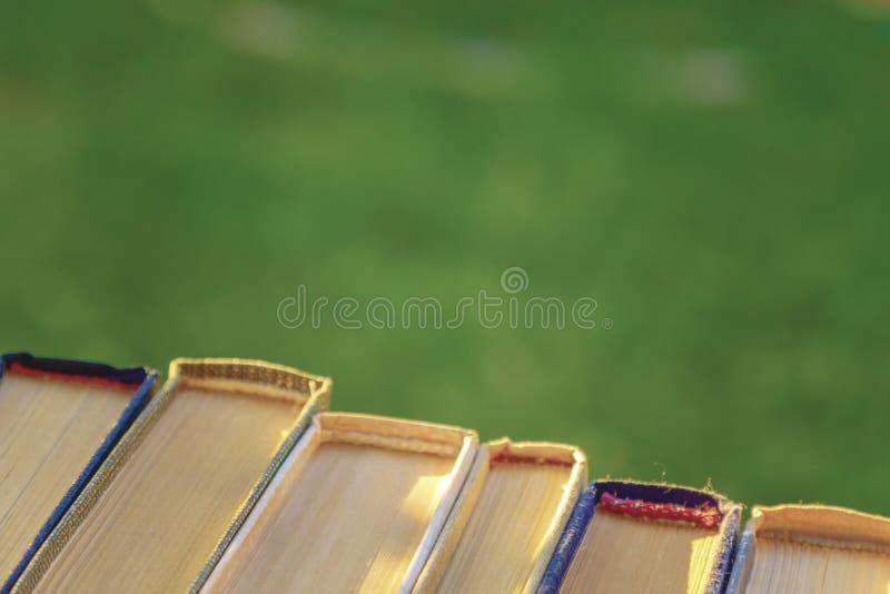 Książkowi tutorials są na zielonej trawie zdjęcia royalty free