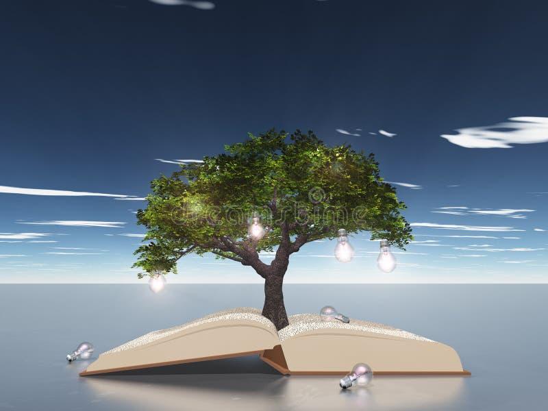 książkowy żarówki światła otwarty drzewo ilustracja wektor