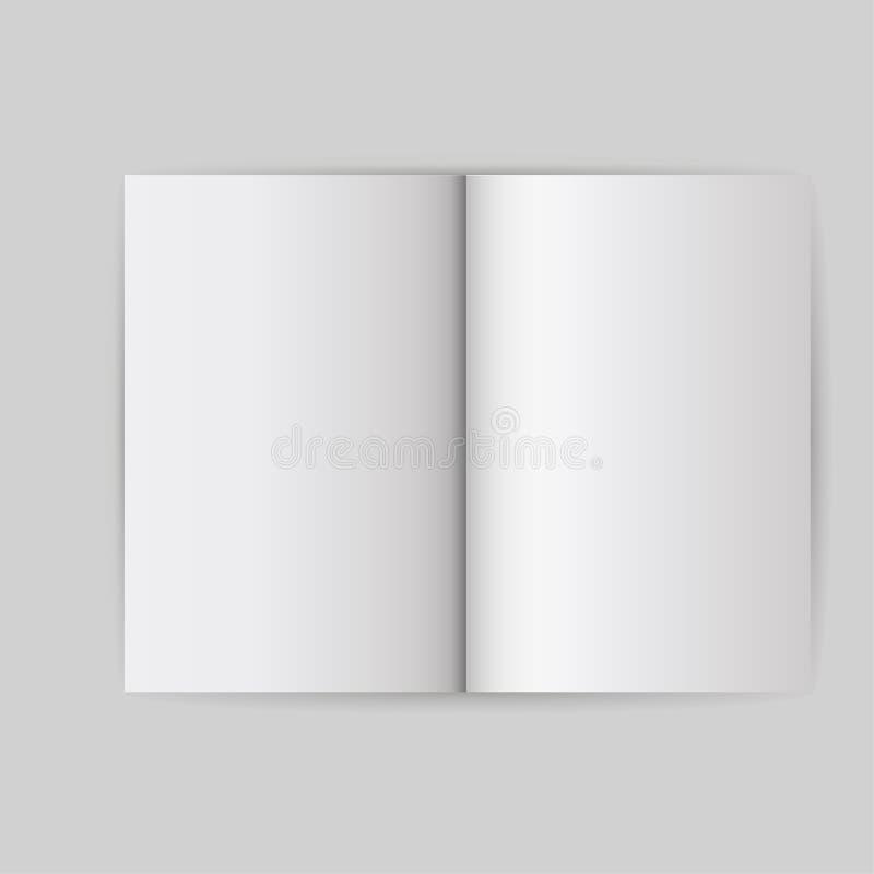 Książkowy biały pusty szablonu przedmiot Otwarty pokrywa egzaminu próbnego up broszurki odosobniony wektor Empt strony biznesoweg royalty ilustracja