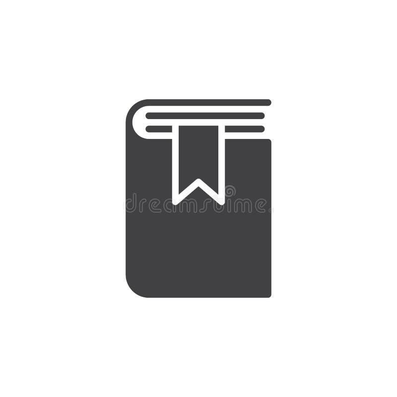 Książkowy bookmark ikony wektor, wypełniający mieszkanie znak, stały piktogram odizolowywający na bielu royalty ilustracja