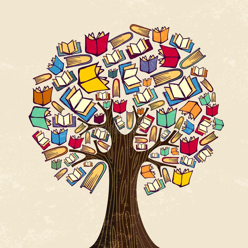 Książkowy drzewo dla edukaci pojęcia ilustraci ilustracji